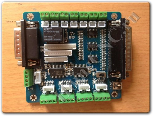 Распакованный контроллер для ЧПУ станка 5 Axis CNC Breakout Board for Stepper Motor Driver with DB25 Cable