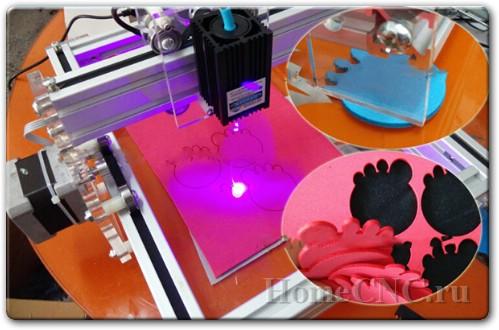 резка лазером на на ЧПУ станке 500mW Desktop DIY Violet Laser